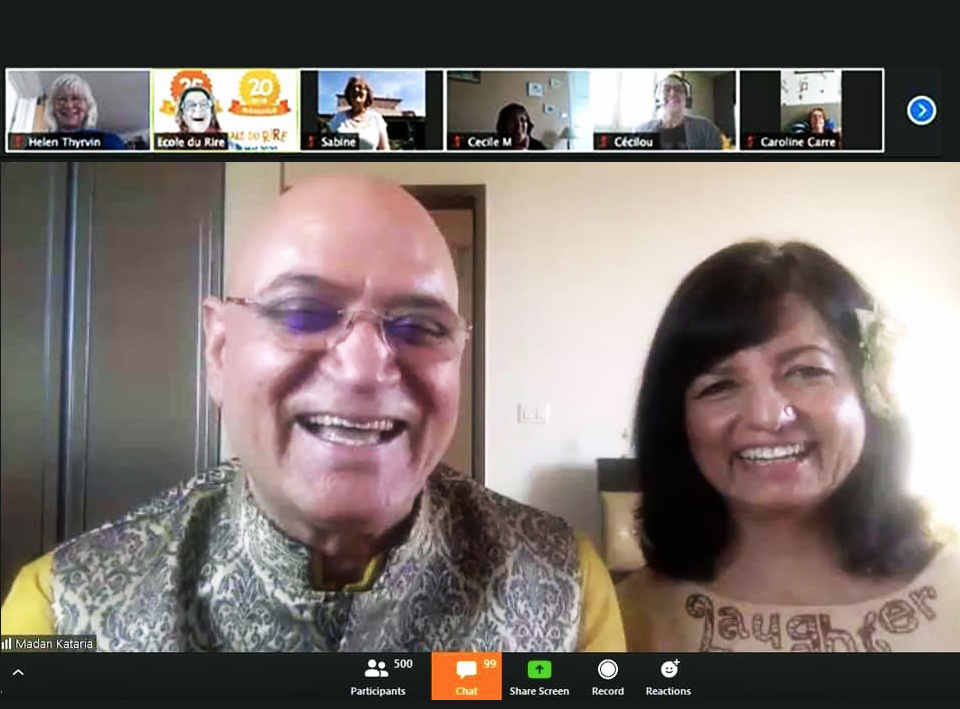 Dr Madan Kataria et Madhuri Kataria  World Laughter Day online May 2020 zoom Corinne Cosseron
