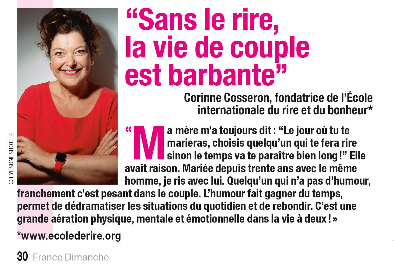 Corinne Cosseron: sans le rire, la vie de couple est barbabte