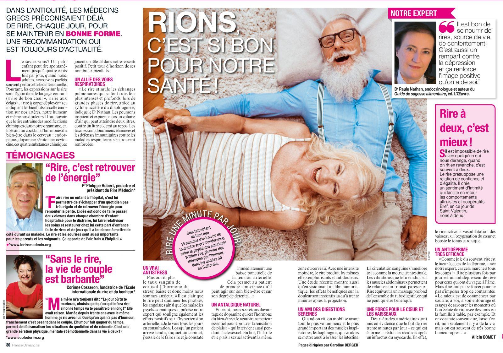 La rigologie dans France Dimanche 2020