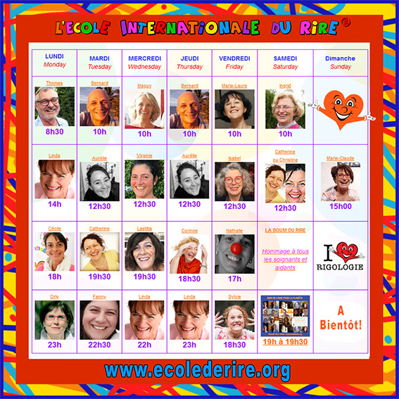 séances de rire en ligne quotidiennes avec l'Ecole Internationale du Rire de Corinne Cosseron